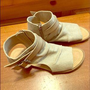 Cute, ankle zip, buckle detail sandals